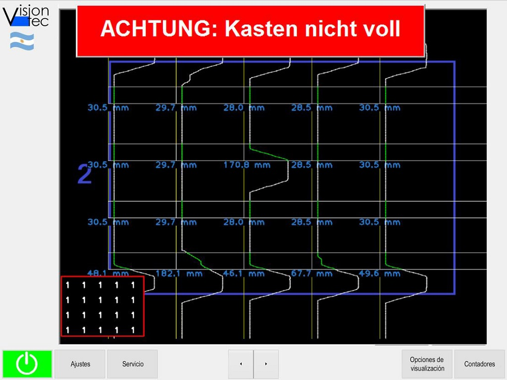ultrasonido control de cajas llenas